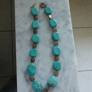 Jewelry - Chunky turquoise sterling nugget necklace